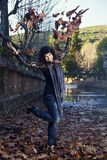 Throw the leaves in the air Stock Photo