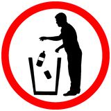 Throw litter in trash icon. Keep clean sign. Warning caution red circle isolated on white background stock illustration