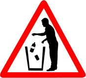 Throw litter warning trash icon. Keep clean sign. Warning caution red triangular isolated on white background royalty free illustration