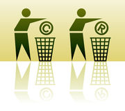 Throw out mark icons. Vector throwing out icons with copyright and register signs Stock Photos