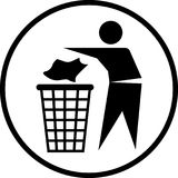 Throw out the trash icon-Vector iconic. Throw out the trash icon in circle line, iconic symbol on white background.  Vector Iconic Design Stock Images