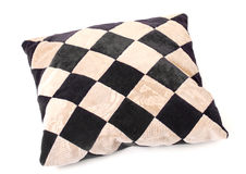 Throw Pillow with a Checkerboard Texture. On white background Stock Photos