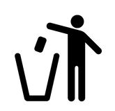 Throw rubbish into the bin. Throw your rubbish into the bin icon stock illustration