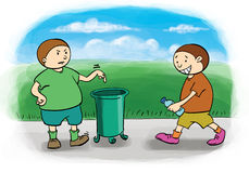 Throw trash. Stimulus to keep the environment clean boy friend Royalty Free Stock Images