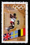 The thrower of a hammer, Olympic games in Mexico, circa 1968. MOSCOW, RUSSIA - JUNE 26, 2017: A stamp printed in Cuba shows the thrower of a hammer, Olympic Stock Images