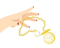 Throwing Away Time. A woman with bright fingernail polish throws away a shiny golden pocketwatch Stock Image