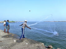 Throwing the cast-net for catching the fish. Fishing in India. Catching fish using net royalty free stock photography