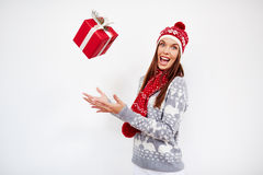 Throwing Christmas gift Stock Photo