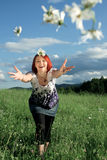 Throwing daisies Stock Photo