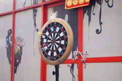 Throwing darts. Shenzhen Baoan Xixiang f518 Creative Park, people are throwing darts entertainment Stock Image
