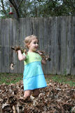 Throwing Fall Leaves Stock Images
