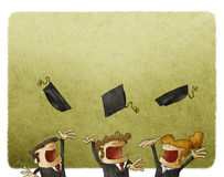 Throwing graduation hats. Illustration of Group Of Graduating Student Throwing Caps In The Air Stock Photography