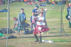 Throwing the hammer at Nairn Highland Games royalty free stock photos