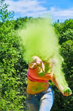 Throwing holi powde Stock Photography