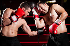 Throwing a hook on a boxing fight. Latin boxer punching his rival in the ribs during a box fight stock photo