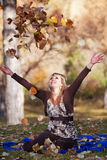 Throwing Leaves Royalty Free Stock Photos