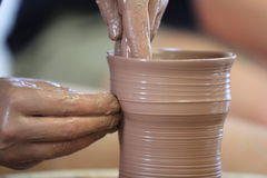 Throwing/Making Pottery Stock Photography