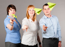 Throwing paper planes Stock Photos