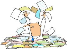 Throwing Papers In The Air. This illustration depicts a man chest deep in documents throwing papers in the air Stock Image