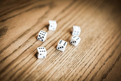 Throwing six dice and getting a perfect score !. Luck concept stock image