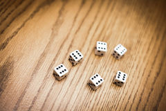 Throwing six dice and getting a perfect score ! Royalty Free Stock Images