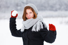 Throwing Snowball Stock Images