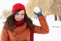 Throwing snowball Stock Photography