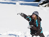 Throwing Snowballs Stock Photography