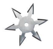 Throwing star ninja Shuriken. Throwing star ninja Shuriken isolated on white background stock photos