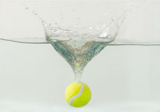 Throwing tennis ball into the aquarium Royalty Free Stock Photos