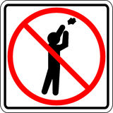 Throwing trash prohibited vector sign Stock Photos