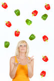 Throwing Vegetable girl Stock Photography