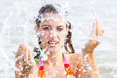 Throwing water Stock Images