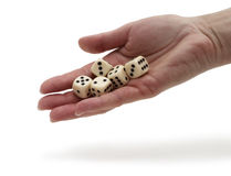 Dices on a hand Stock Photos