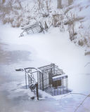 Throwm away. Shopping carts thrown away in a nearby stream Royalty Free Stock Photo