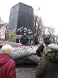 Thrown big monument to Lenin in February 22, 2014 Royalty Free Stock Photography