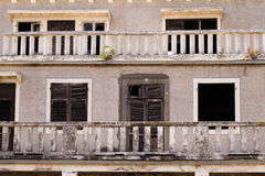 Thrown buildings. The part of the old collapsing building photographed by a close up. Montenegro Royalty Free Stock Images