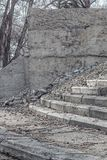 The thrown concrete design with steps. The concrete design and steps is exposed to destruction and fall in the open air Stock Images