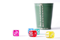 Thrown dice Stock Images