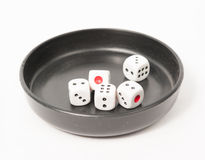 Thrown dice isolated on white background Royalty Free Stock Photos