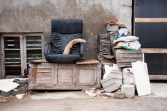 Thrown out home furniture royalty free stock images