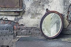 Thrown Out Old Mirror. Standing Against Wall stock image