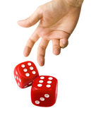 Thrown Red Dice Royalty Free Stock Photo