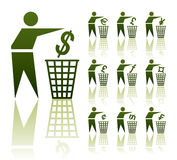 Throwout icons currency Stock Photography