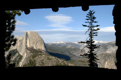 Thrue the window. Half dome thrue the outlook window at glacier point Royalty Free Stock Photo