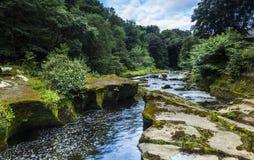 Thrum Falls. Thrum Falls, waterfalls on the River Coquet at Rothbury, Northumberland, England, UK Royalty Free Stock Photo