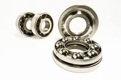 Thrust Ball Bearings. Isolated on white background royalty free stock photo