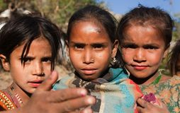 Thtee nepalese children, young girls, in western Nepal Stock Photo