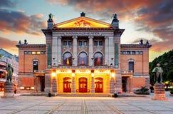 Théâtre national d'Oslo, Norvège Images libres de droits
