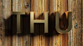 THU-het messing schrijft op ruw hout - het 3D teruggeven Stock Fotografie